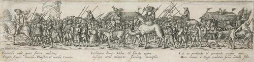 marschierende soldaten mit tross und kamel after hans sebald beham by johann theodor de bry