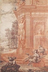 fontaine à atlante dans un parc romain, avec diane et ses chiens by gilles-marie oppenort