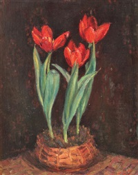 pot with tulips by hrandt avachian