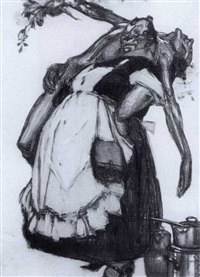 woman carrying a male nude by s. cornelius