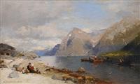 fishermen in the fjord by georg anton rasmussen