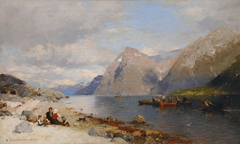fishermen in the fjord by georg anton rasmussen