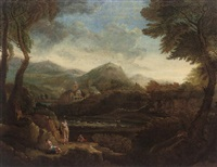 a wooded river landscape with bathers in the foreground by george lambert