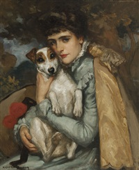 jeanne with her terrier by rupert bunny