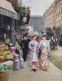 parisian street scene by basile lemeunier