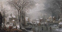 paysage de rivière gelée by joos de momper the elder