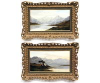 highland landscapes (a pair) by charles leslie