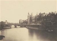 paris: quai de l'horloge, les tuileries, place du carrousel et arc de triomphe (2 works) by françois auguste renard