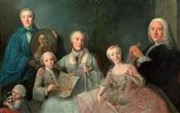 portrait de famille dans l'embrasure d'une fenêtre by jean claude lemaire