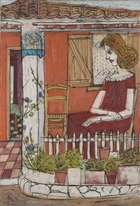 femme devant une maison by costas grammatopoulos