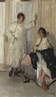 the mannequins ippy and gertie at hirsch, amsterdam by isaac israels