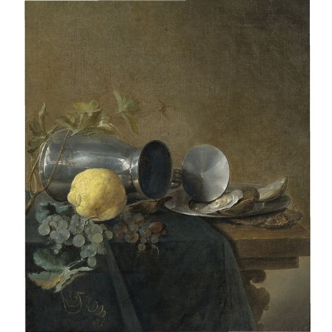 still life of a pewter tankard lemon oysters and grapes by jan davidsz de heem