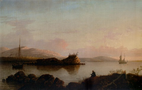sunrise on the maine coast mount desert island by fitz henry lane