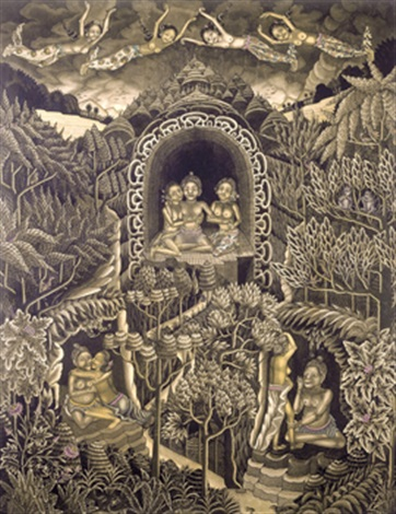 the temptation of arjuna by the heavenly nymphs widadaris while his servants twalen and mrdah surrender to temptation by ida bagus made nadera