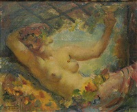 a semi-nude girl with a cup by frantisek naske
