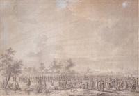 soldats rangés en ordre de bataille le long d'une rivière by dirk langendyk