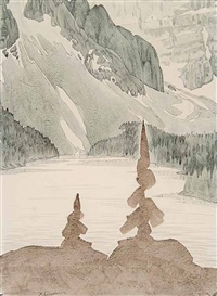 untitled - mountain lake by ernest lindner