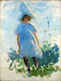 young girl in a garden by charles webster hawthorne