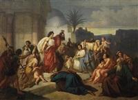 judith zeigt den bethuliern das haupt des holofernes by august von heckel