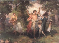 dancing figures in a forest by henry john lintott