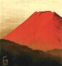 mount fuji in red by misao yokoyama