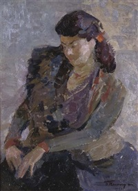 portrait of a woman, seated by boris nikitovich pianida