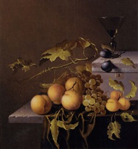 peaches and grapes on the vine, with a goblet of wine on a casket, on a partially draped stone ledge by johannes borman