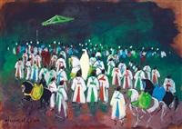 fête arabe sur fond vert by hassan el glaoui