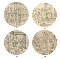 tobias and the angel in the house of raquel (+ 3 others; 4 designs for stained-glass roundels) by cornelis anthonisz
