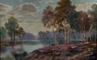 paysage au lac by gaston anglade