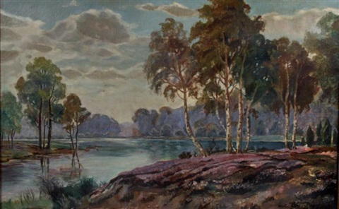 paysage au lac by gaston anglade