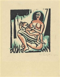 mutter und kind by max pechstein