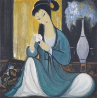 lady with flower by lin fengmian