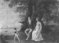 couple assis sous des arbres avec leur fils by françois joseph wachsmuth