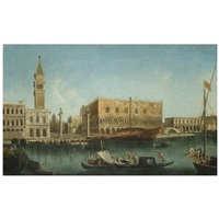venice, a view of the molo from the bacino di san marco, with the piazzetta and the palazzo ducale by francesco albotti
