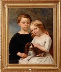 portraits des filles de sara et d'albert wauters accompagnées de leur chien by charles augustin wauters