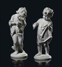 joy statues of a girl and a boy, entitled and grief (pair) by raimondo pereda