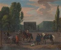 horsemen in a park landscape by dirk maes
