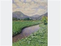landscape by a stream by maximilian lenz