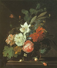 still life of roses, lilies and other flowers in a glass vase with a snail on a marble ledge by willem grasdorp