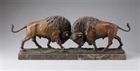 zwei kämpfende bisons by alfred hofmann