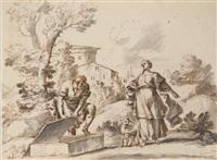 jacob et rachel, agar et l'ange et esaü et jacob (3 works) by antonio maria zanetti