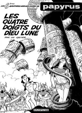 papyrus cover for album les quatre doigts du dieu lune by lucien de gieter