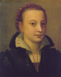 portrait of minerva anguissola, wearing a black dress, a brown bodice and a white lace chemise by lucia anguissola