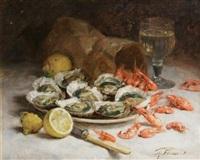 nature morte aux huîtres et aux crevettes by guillaume romain fouace