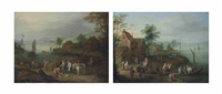 a village with a horse-drawn cart and figures embarking on a ferry (+ a river landscape with fishermen selling their catch near a village; pair) by jan frans van bredael the elder
