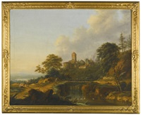 river landscape with travellers crossing a bridge, a town beyond by johann (jan) christian vollerdt