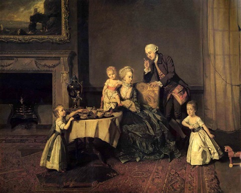 a group portrait of john 14th lord willoughby de broke and his family by johann joseph zoffany
