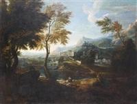 paysage de campagne, traversé par un fleuve, avec des architectures de villes antiques by gabriel allegrain