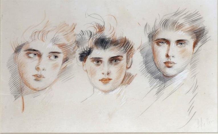 les trois jeunes femmes by paul césar helleu